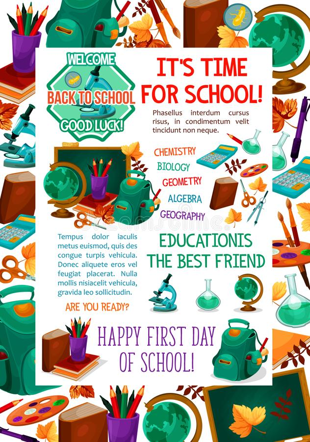 Download Back To School Vector Autumn Education Poster Stock Vector    Illustration Of Astronomy, Biology