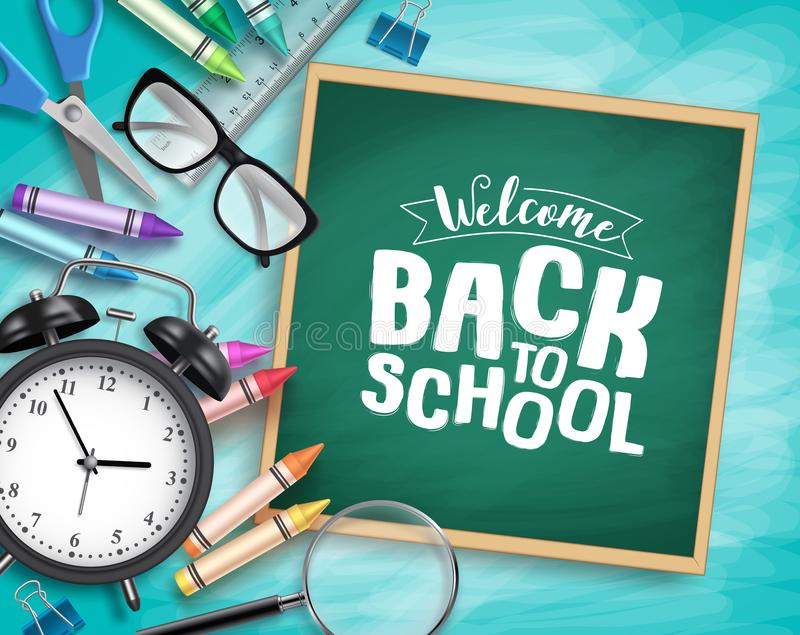 Back to school vector background template. Welcome back to school greeting text royalty free stock photos