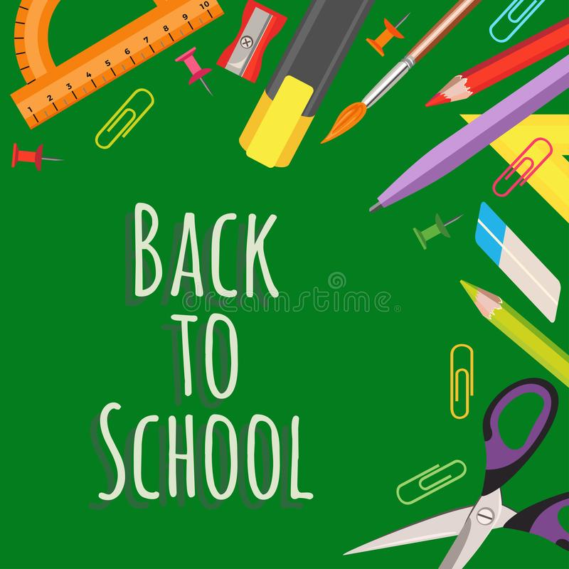 Back to school vector banner. Concept of education and study equipment. vector illustration