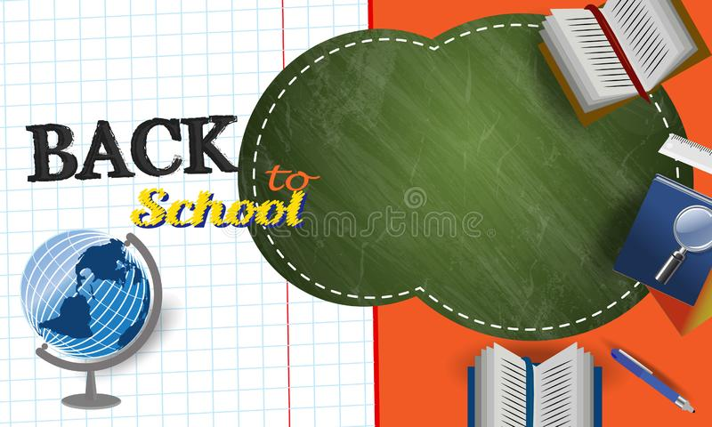 Back to school vector characters background template with backpack, pencil ,book, and space for text. Vector back to school  background royalty free illustration