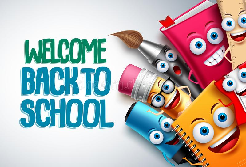 Back to school vector characters background template with funny education cartoon mascots vector illustration