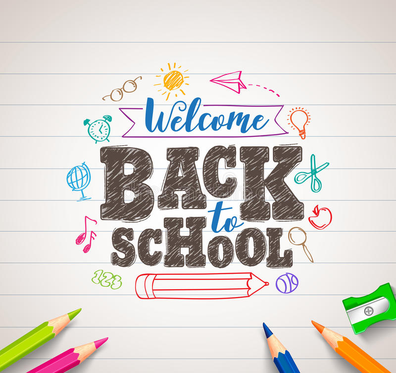 Back to school vector drawing in white paper with colorful crayons royalty free illustration