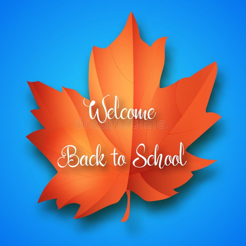 Back to school. Vector education illustration of Back To School handwritten label with maple leaf. Lettering composition royalty free illustration