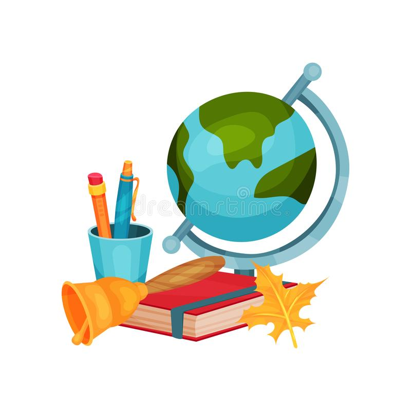 Back to school vector elements. Earth globe, cup with pen and pencil, red book, golden bell and orange Autumn leaf royalty free illustration
