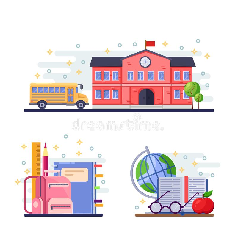 Back to school vector flat illustration. School building, yellow bus and stationery supplies. Education icons. vector illustration