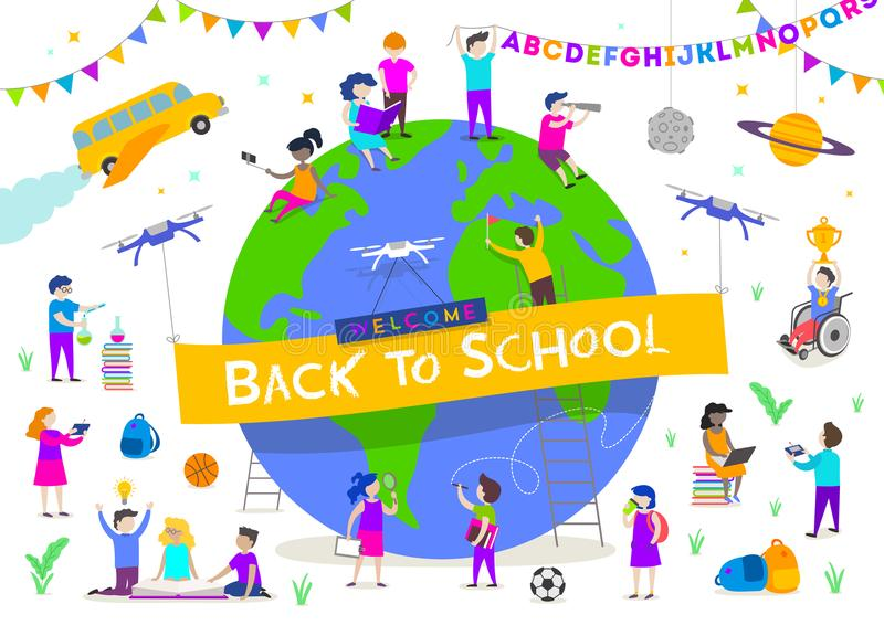 Back to school illustration. Group of active children around a giant globe. Children characters doing different activities stock illustration