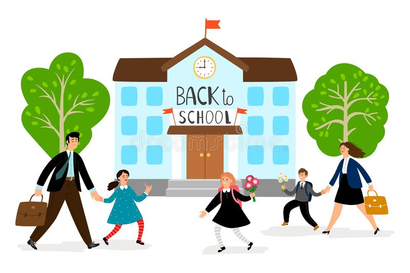 Back to school vector illustration. Parents lead children to school stock illustration