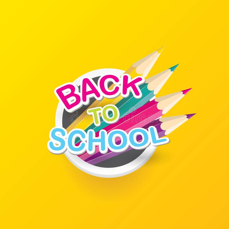 Back to school vector label with text and pencil vector illustration