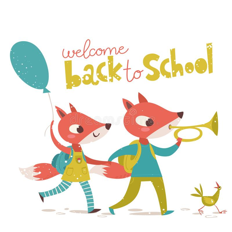 Back to school vector poster with cute fox character and lettering. Vector card Welcome back to school with cute fox character playing a trumpet and holding an royalty free illustration