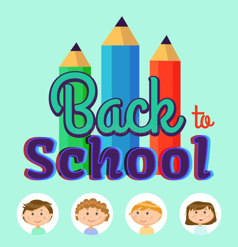 Back to School, Children Students in Frames Poster stock illustration