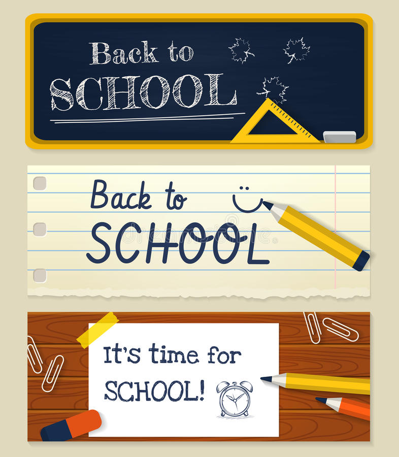 Back to school. Vector set of horizontal banners. vector illustration