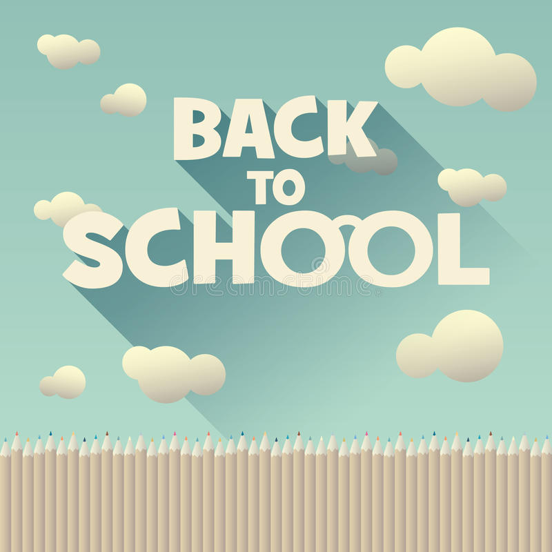 Free Back To School Vintage Background With Long Shadow Royalty Free Stock Photography - 56724017