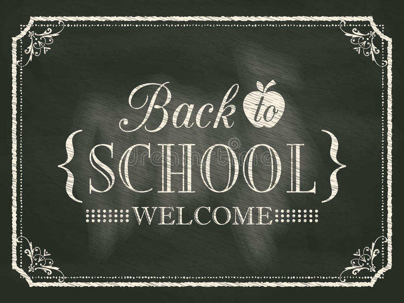 Back to School vintage chalk board background vector illustration