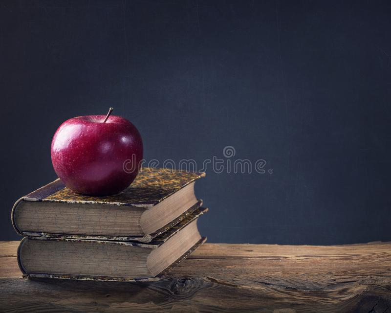 Back to School. Vintage still life with copy space stock image