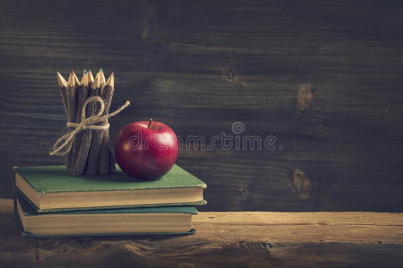 Back to School. Vintage still life with copy space stock images