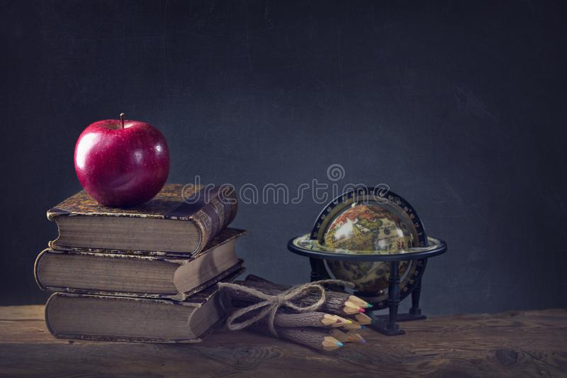 Back to School. Vintage still life with copy space stock photography
