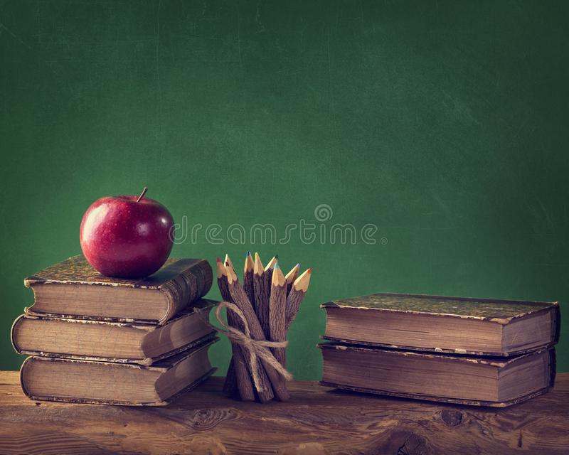 Back to School. Vintage still life with copy space royalty free stock image