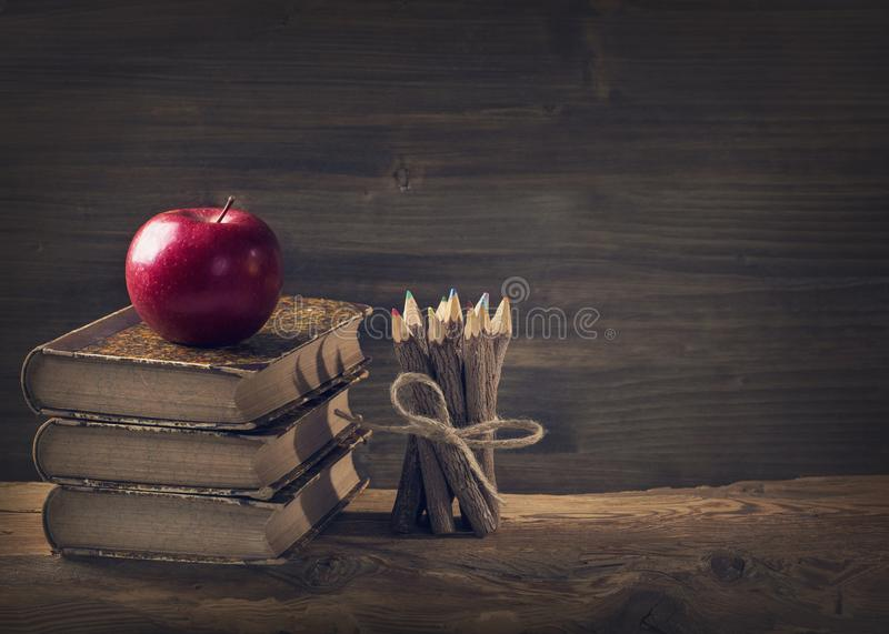 Back to School. Vintage still life with copy space royalty free stock images