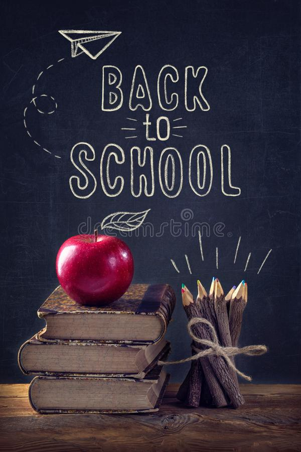 Back to School. Vintage still life with  text stock photography