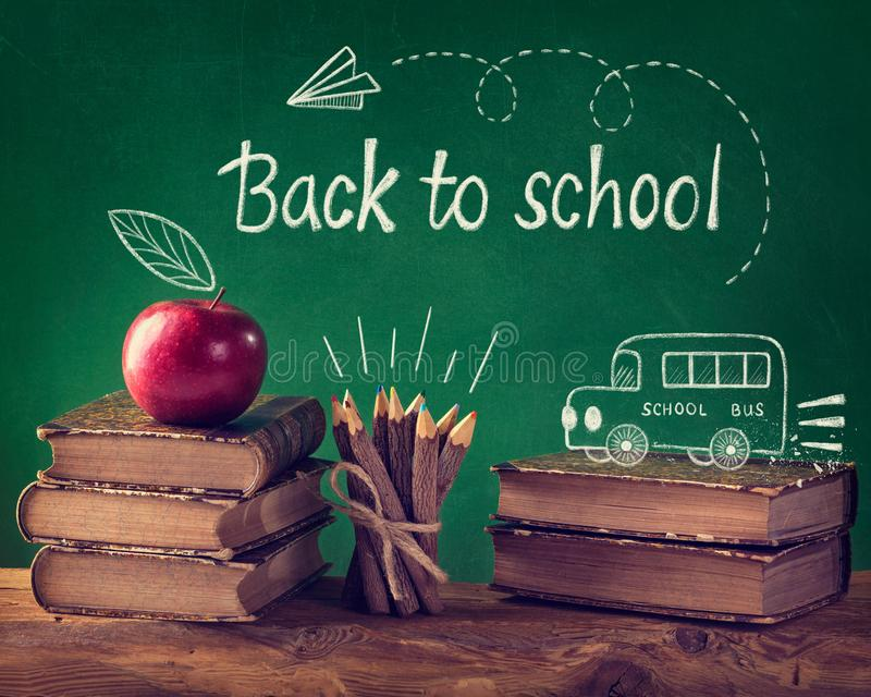 Back to School. Vintage still life with  text stock images