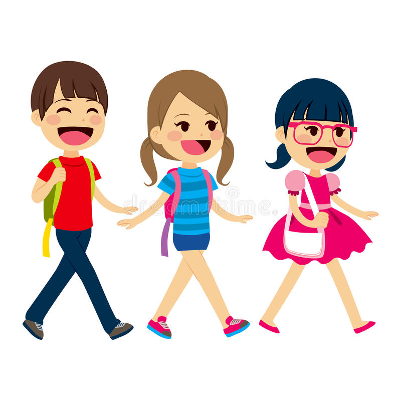 Back To School Walking Students. Three little children students walking going back to school royalty free illustration