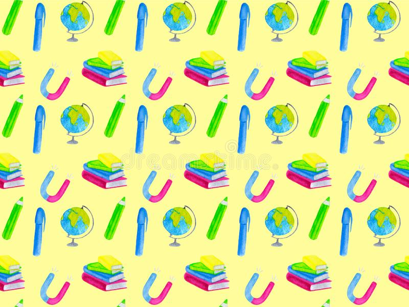 Back to school watercolor seamless pattern on yellow background vector illustration