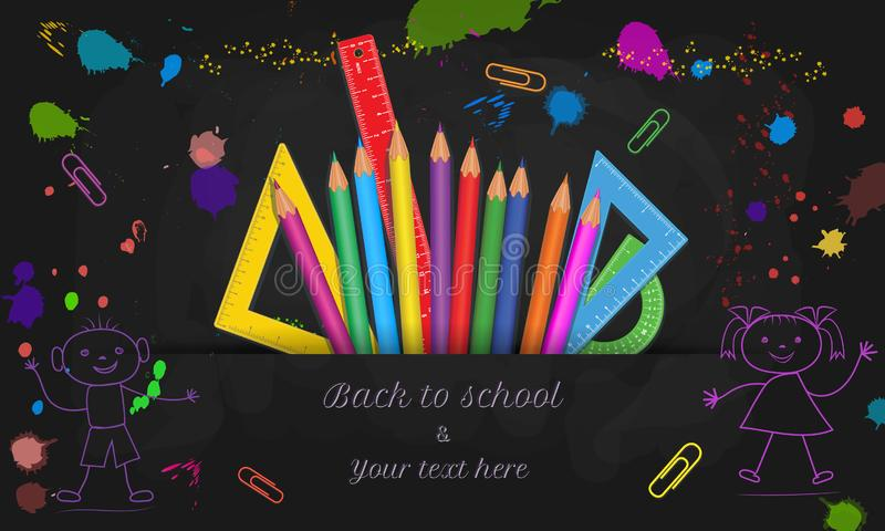 Back to school web banner with hand drawn doodle boy and girl isolated on black chalkboard background with colorful paint splashes. Splatter and school stock illustration