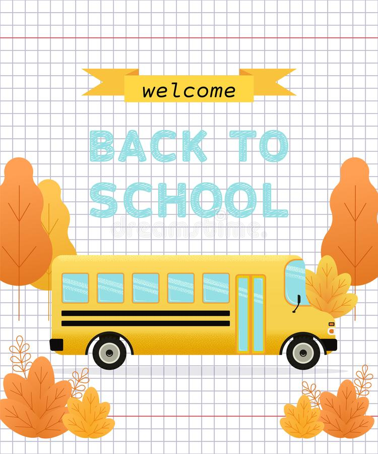 Welcome back to school banner. Vector illustration. royalty free illustration