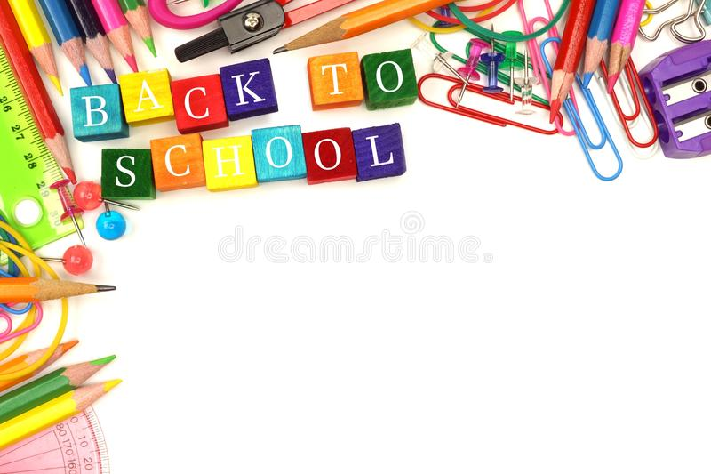 Back To School wooden blocks with corner border stock images