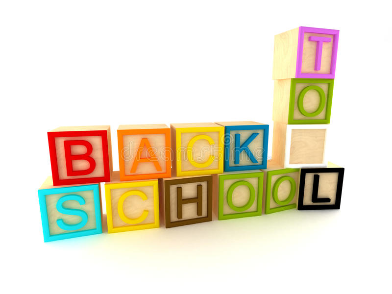 Download Back To School - Wooden Blocks Letters Stock Illustration - Image: 15929398