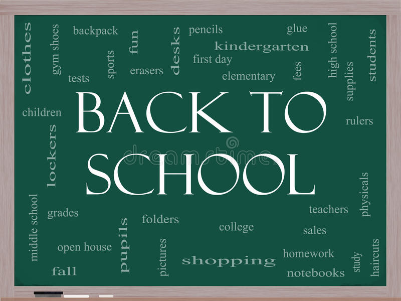 Back to School Word Cloud Concept on a Blackboard royalty free illustration
