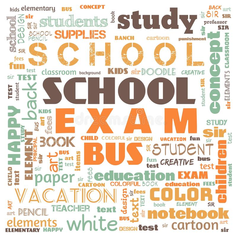 Back to the school word cloud, word cloud for school life, this word cloud use for banner, painting, motivation, web-page, website. Background, t-shirt, shirt stock illustration