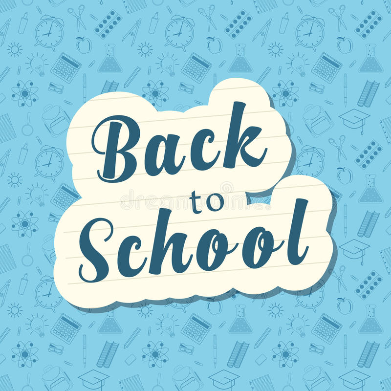 Back to school words banner on bubble royalty free illustration