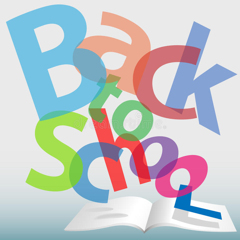 Download BACK TO SCHOOL Words Text Book Pages Stock Vector - Image: 15218045