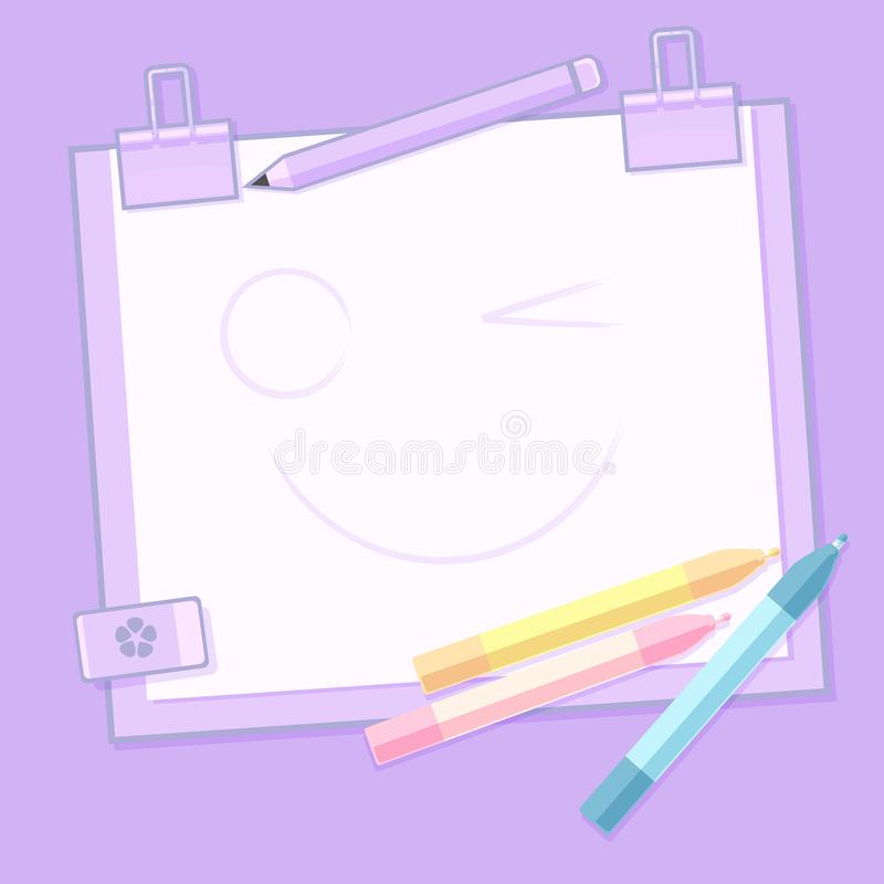Back to School and work with Pastel Monotone vector background stock illustration