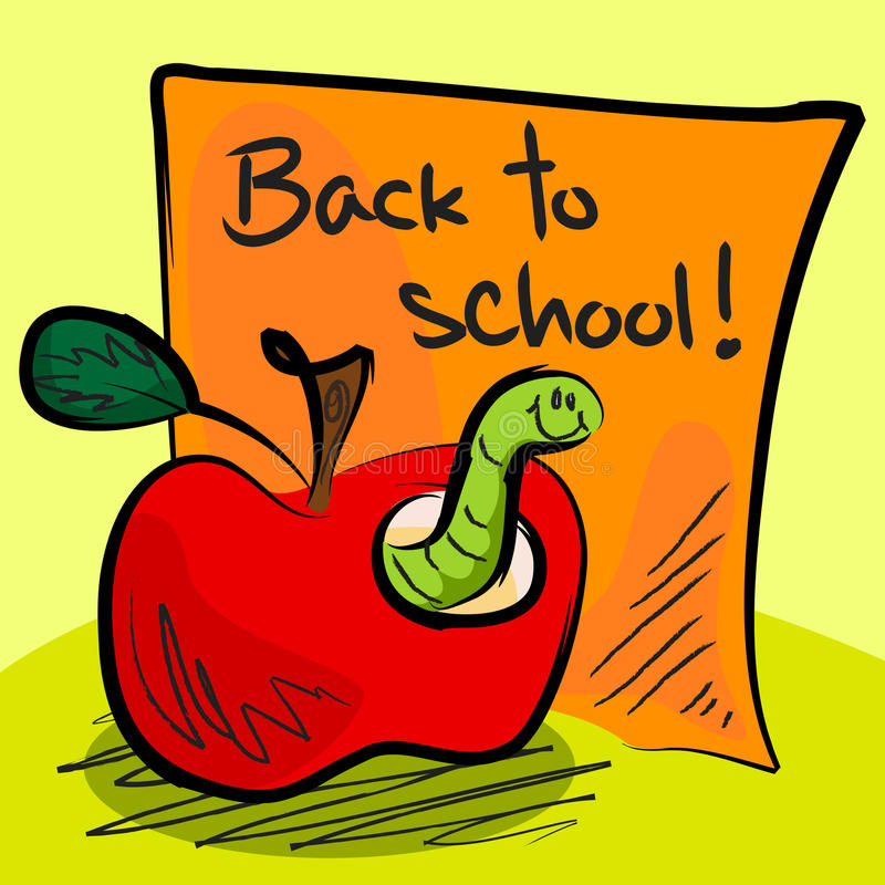 Download Back To School Worm In Apple Stock Illustration - Image: 26348716
