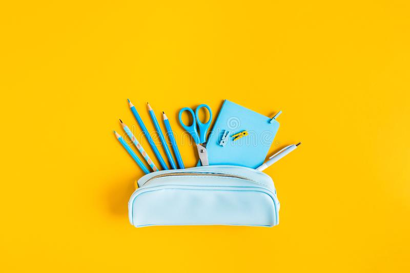 Back to school. Writing materials. stock image