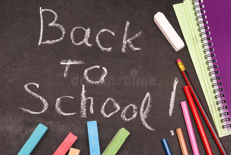 Back to school written stock photo
