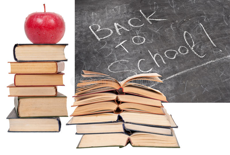 Download Back to School written stock image. Image of books, apple - 27064497