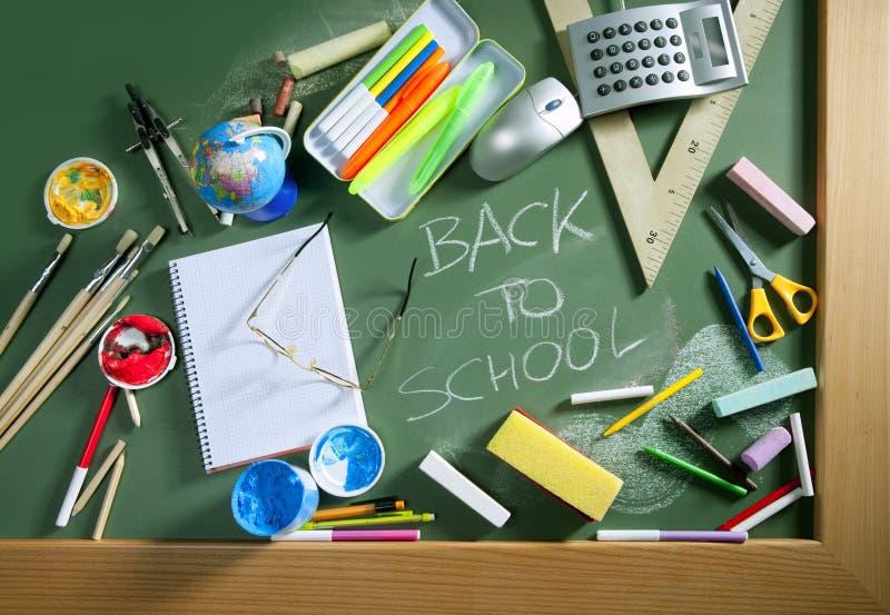 Back to school written blackboard green board. Back to school written in green blackboard education concept still life stock photos