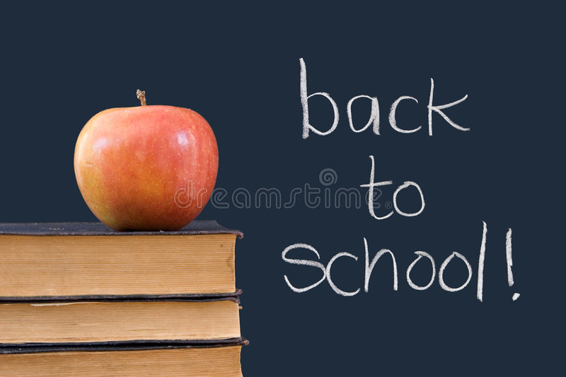 Back To School Written On Chalkboard Wiith Apple, Royalty Free Stock Photography