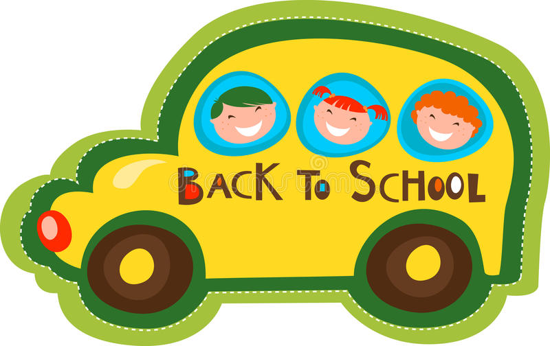 Back to school - yellow bus. With cute kids vector illustration