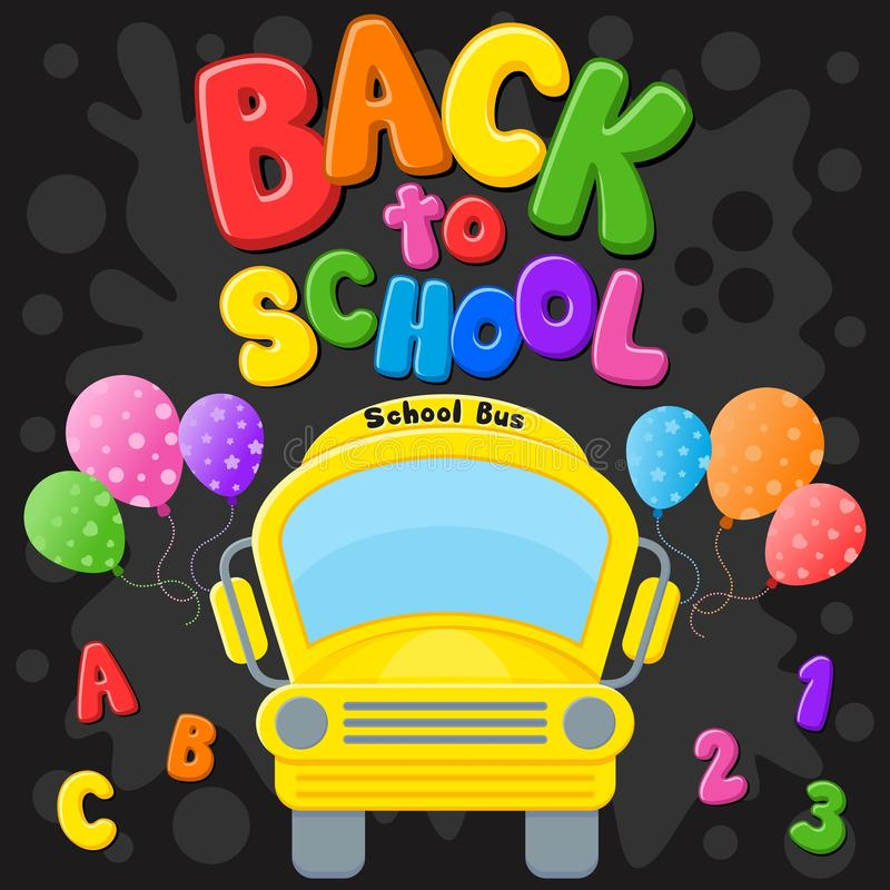 Back to school. Yellow Bus. Colorful title and elements in black background. Vector illustration. vector illustration