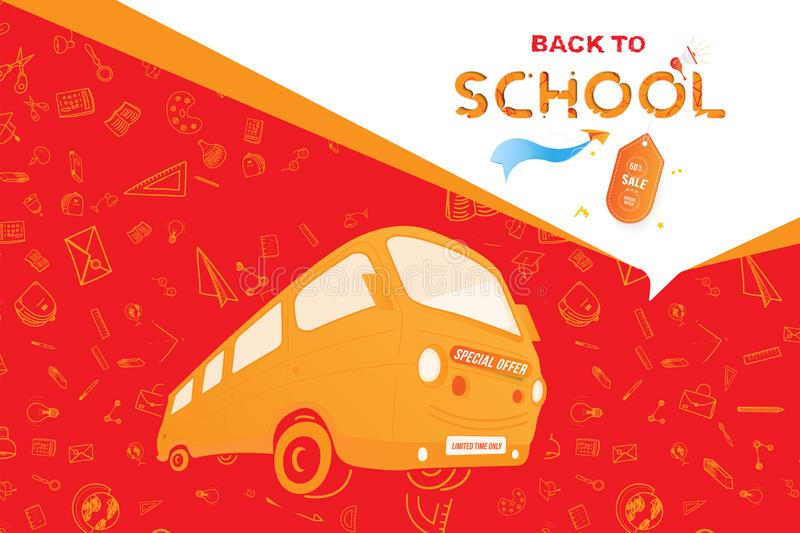 Back to School with yellow bus. Super Sale 50 special offer. Set icons with a paper airplane and label. Flat Vector Illustration royalty free illustration