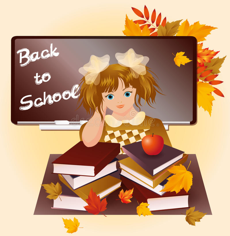 Download Back To School. Young Girl With Apple. Stock Vector - Illustration of childhood, homework: 25982864