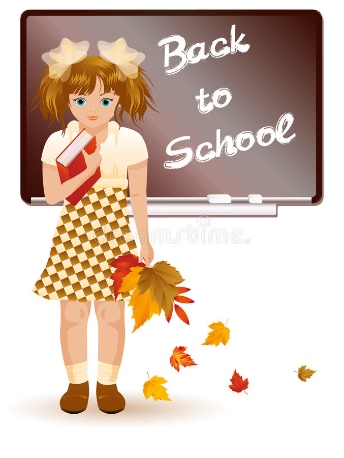 Download Back To School  Young Girl With Autumn Leafs Stock Vector - Image: 25930937