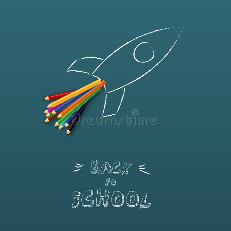 Back to shool poster vector template with space rocket and color pencils, hand drawing on chalkboard. Creativity symbol vector illustration