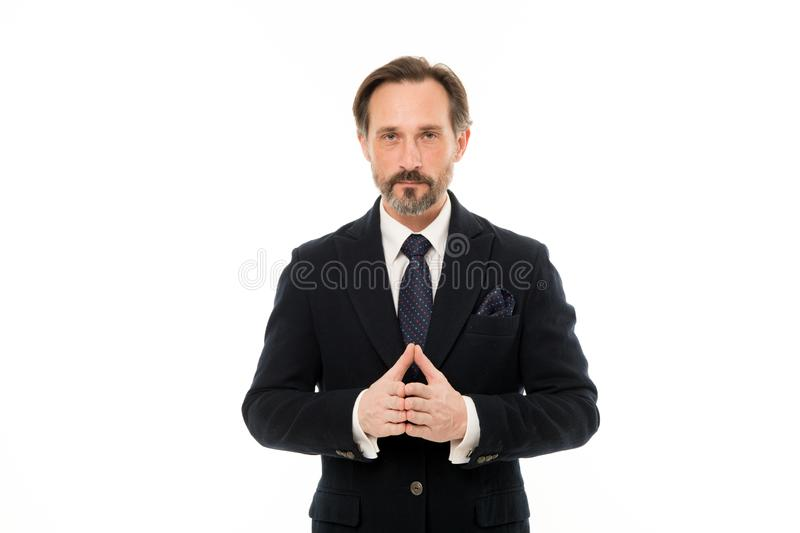 Back to work in a suit and tie. Mature businessman in formal wear. Senior man with grey beard hair. Bearded mature man stock photo