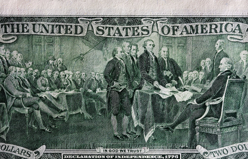 Back of two dollar bill. Showing The Declaration of Independence stock photos