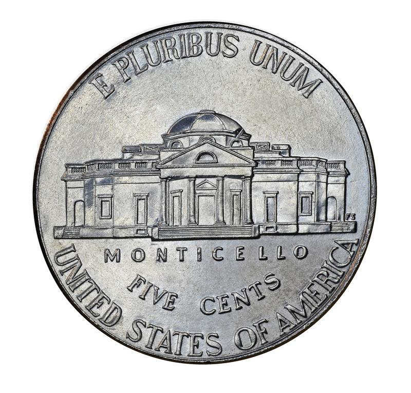 Back of United States nickel. With Thomas Jefferson`s mansion at Monticello stock image